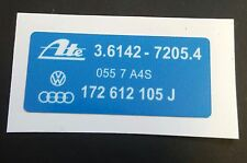 VW GOLF BRAKE SERVO STICKER 172 612 105 J MK1 GTI CAB 1.6 1.8