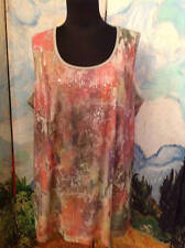 AVENUE PLUS 18/20 NEW PINK/GRAY BACK SEQUIN FLORAL SLEEVELESS LAYERING TANK TOP