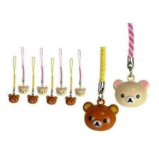 LOT of 10 TEDDY BEAR BRASS BELL CHARM Rilakkuma San-X Set Craft Cell Phone Strap