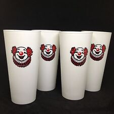 Set of 4 VTG Circus Clown Red & White Plastic Tumblers Drinking Cups Nasco USA