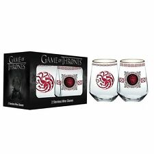 Game of Thrones Stemless Wine Glasses Dragon Sigil HouseTargaryen 14 oz Set of 2