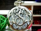 Antique Flying Dragon orchid silver charm steampunk pocket watch necklace.