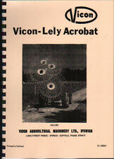 Vicon-Lely Acrobat Hay Turner Instruction and Spare Parts Book