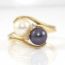 14K Yellow Gold Natural Diamond Tahitian Pearl Bypass Modernist Ring Sz 7.5 QR1