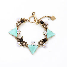 Vintage Gold Wanderlust Mint Triangle Flower Bracelet Bangle Bloom Floral Charms