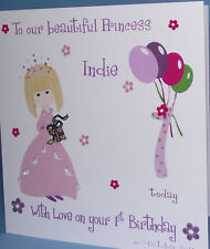 PERSONALISED HANDMADE PRINCESS BIRTHDAY CARD GRANDDAUGHTER,NIECE 1st 2nd 3rd 4th