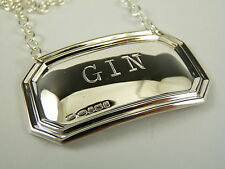 NEW - Sterling Silver - Deco DECANTER / Wine Label - GIN - Boxed