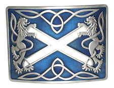 Highland Saltire and Lion Rampant Antique with Blue Enamel Kilt Belt Buckle
