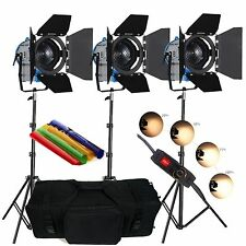 3 × Alimentatore da 500 W MOVIE Fresnel Tungsten Spotlight Illuminazione Dimmer VIDEO Imbottito Bag Pro