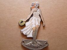 Genuine Car Mascot Dashboard Lady Winners Reef Motoring Enamel Badge c1930s