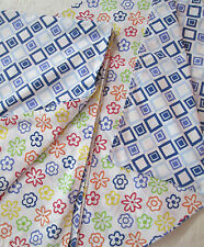 TWIN Flat Sheet ~ Flowers GEOMETRIC Reversible Pattern ~ Vintage, BLEMISHED