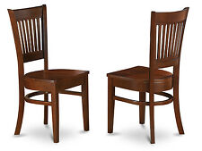 Set of 2 Vancouver dinette kitchen dining chairs w/ plain wood seat in espresso