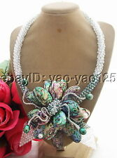 Q112104 New! Pearl&Paua Abalone Shell&Crystal Necklace