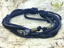 Braccialetto Bracciale in pelle leather bracelet surfista RETRO TESCHIO SKULL VD a505