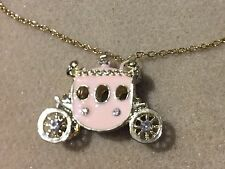 Womens Long Gold Tone Cinderella Inspired Pink Carriage Necklace