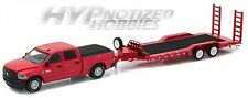 GREENLIGHT 1:64 2016 RAM 2500 & HEAVY DUTY CAR TRAILER DIE-CAST RED 32090-D