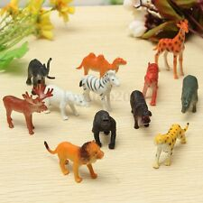 12PCS Plastic Zoo Safari Animal Figure Lion Tiger Leopard Hippo Giraffe Kids Toy
