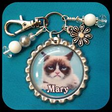 Personalized GRUMPY CAT Bottle Cap Name Necklace Jewelry, Zipper Pull Pendant