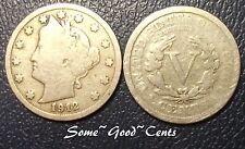 "One 1912 Liberty ""V"" Nickel Vintage Collectable Old Coin  ""Good + Grade"""