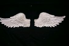 Pair of Decorative Antique White Angel Wings Wall Hangings  40 cm Wide Each