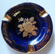 LIMOGES COLBALT BLUE & GOLD ASH TRAY  Golden Rose design