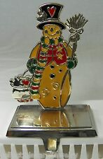 """Colorful SNOWMAN Heavy Christmas Stocking Hanger Holder Hook Silver Metal 8"""""""