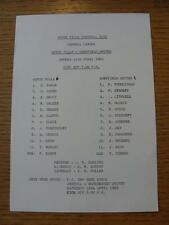 11/04/1983 Aston Villa Reserves v Sheffield United Reserves  (Single Sheet, Scor
