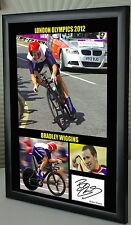 "Bradley Wiggins London Olympics 2012 Framed Canvas Signed ""Great Gift Souvenir"""