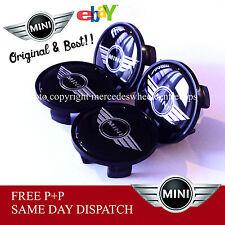 BMW MINI COOPER WHEEL CENTRE CAPS  SET OF 4  54mm BLACK MINI WINGS LOGO EMBLEM