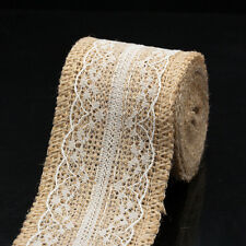 2m Retro Lace Edged Hessian Burlap Ribbon Roll for Rustic Wedding Party Decor