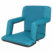 Portable Reclining Seat Padded Cushion Camping Chair Backpack Beach Chair Blue