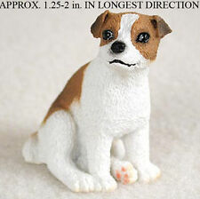 Jack Russell Terrier Mini Resin Hand Painted Dog Figurine Statue Brwn/Wht Smooth