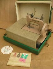 Vintage Singer Child Toy Sewing Machine Beige / Tan with case  NICE!