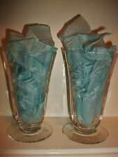 Set of 2 Vtg Optic Cut CRYSTAL 10 Oz. FOOTED TUMBLERS 5.25 Inches Ships FREE