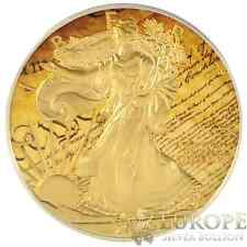 2014 1oz Ounce American Silver Eagle Coin Gold Gilded Colorized Constitution