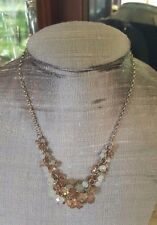 "NEW Faceted Cluster Bead Necklace Moonstone & Smoky Topaz Hue 17-18""  - LOVELY!"