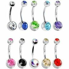 10pcs DOUBLE CRYSTAL Belly Bars Gem Ball Nose Navel Rings Piercings Jewellery UK