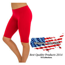 NEW SEAMLESS BASIC SOLID TIGHT SPANDEX ATHLETIC SPANDEX BERMUDA ABOVE KNEE S M L