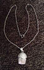 Sterling Silver Marked .925 Crystal Cupcake Charm Pendant Necklace Length 16""