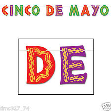 FIESTA Cinco de Mayo Party Decoration GLITTERED STREAMER Letter Banner