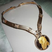Franklin MInt Funerary Mask of Tutankhamun 24kt gold & S. Silver COIN Necklace