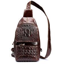 2016 Men Genuine Leather Crocodile Sling Chest Bag Shoulder Cross Messenger Pack