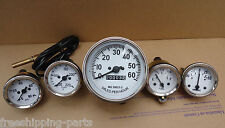Willys MB Jeep Ford GPW CJ - Speedometer+ Temp+Oil+Fuel+ Amp Gauges - White Face