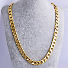 "Real Solid Gold Filled Cuban Link  Chain Necklace 24"" 7mm Thick Men's jewelry"