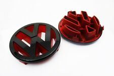 Gloss Black / Red Front Grille Emblem for VW Polo 9N3 2006-2009