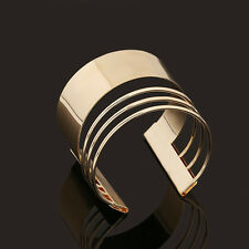 Luxury Punk Style Cuff Bangles Gold Plated Geometry Hollow out Metals Bracelet