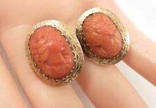 HAND TOOLED 14KT FRAMED VICTORIAN RED CORAL CAMEO EARRINGS SCREW BACKS