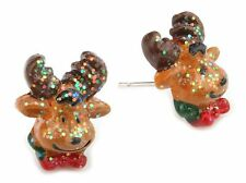 Zest Christmas Glitter 3D Rudolph Reindeer Head Stud Earrings for Pierced Ears