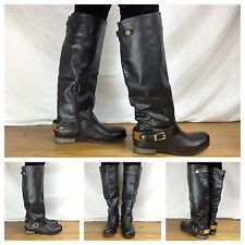 Aldo NEW Sexy Black Knee High Gold Accent Riding Motorcycle Biker Boots SZ 7