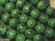 8mm Natural Malachite Round Beads (10 Beads) A Grade GORGEOUS!!!!!